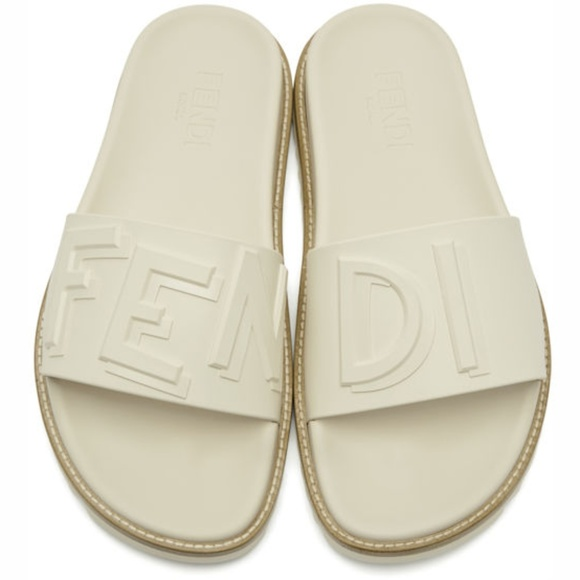 aeecb12f Fendi White Rubber Vocabulary Slides Sandals Boutique